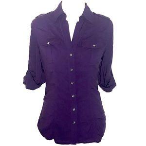 Express versatile deep purple button down blouse